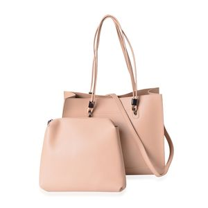 Tan Faux Leather Tote Bag (14x4.5x12 in) with Matching Pouch Bag (11.5x1.5x8 in) and Removable Strap