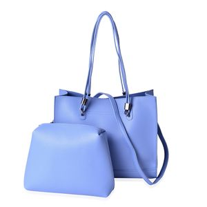 Blue Faux Leather Tote Bag (14x4.5x12 in) with Matching Pouch Bag (11.5x1.5x8 in) and Removable Strap