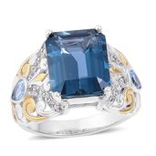 London Blue Topaz, Swiss Blue Toapz, White Zircon 14K YG Over and Sterling Silver Ring (Size 9.0) TGW 8.90 cts.