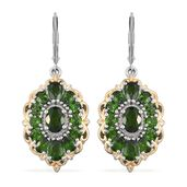 Russian Diopside 14K YG and Platinum Over Sterling Silver Lever Back Earrings TGW 7.56 cts.