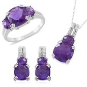 Lusaka Amethyst Sterling Silver Earrings, Ring (Size 10) and Pendant With Chain (18 in) TGW 13.85 cts.