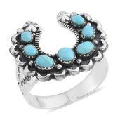 Santa Fe Style Kingman Turquoise Sterling Silver Horseshoe Ring (Size 7.0) TGW 2.25 cts.