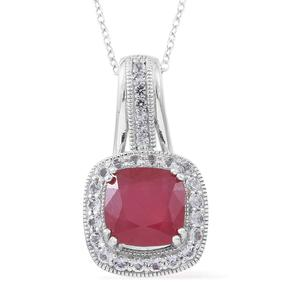 One Time Only Niassa Ruby, White Topaz, Kanchanaburi Blue Sapphire Sterling Silver Royal Drop Pendant With Chain (18 in) TGW 7.39 cts.
