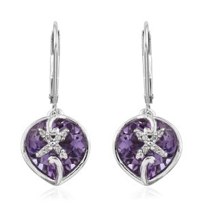 Rose De France Amethyst, Cambodian Zircon Platinum Over Sterling Silver Lever Back Earrings TGW 6.39 cts.