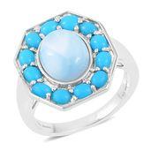 Inspire by Liz Fuller, Larimar, Arizona Sleeping Beauty Turquoise 935 Argentium Silver Ring (Size 10.0) TGW 5.45 cts.