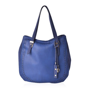 Sky Blue and Navy Blue Faux Leather Tote Bag (12.4x5x11.6 in)