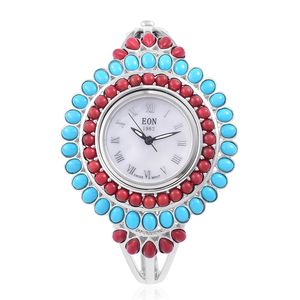 EON 1962 Bamboo Coral, Arizona Sleeping Beauty Turquoise Swiss Movement Water Resistant Watch in Sterling Silver with Stainless Steel Back TGW 11.00 cts.