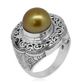Bali Legacy Collection South Sea Golden Pearl Sterling Silver Openwork Ring (Size 11.0)