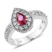Rose Danburite, Cambodian Zircon Platinum Over Sterling Silver Ring (Size 9.0) TGW 1.85 cts.