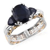 Dan's Jewelry Selections Kanchanaburi Blue Sapphire 14K YG and Platinum Over Sterling Silver Ring (Size 11.0) TGW 5.30 cts.