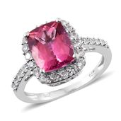 Rose Danburite, Cambodian Zircon Platinum Over Sterling Silver Ring (Size 8.0) TGW 5.60 cts.