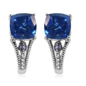 Brazilian Azul Quartz, Tanzanite, Cambodian Zircon Platinum Over Sterling Silver J-Hoop Earrings TGW 12.94 cts.
