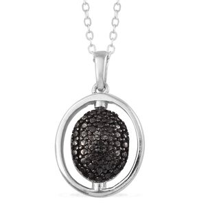 Black Diamond (IR), Diamond Accent Black Rhodium & Platinum Over Sterling Silver Reversible Pendant With Stainless Steel Chain (20 in)
