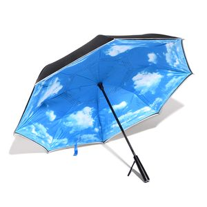 Sky Blue Polyester Double Layer Inverted Umbrella with LED Light Handle (31.5 in)