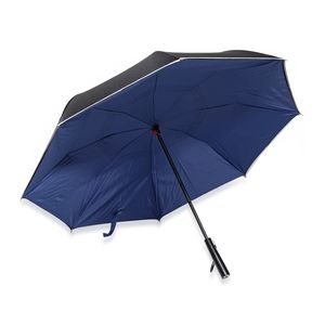 Navy Polyester Double Layer Inverted Umbrella with LED Light Handle (31.5 in)