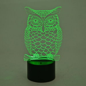 3D Owl Image on LED Light Display Base (3AA Batteries Not Included) (8x3 in)