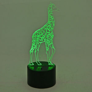 3D Giraffe Image on LED Light Display Base (3AA Batteries Not Included) (8x3 in)