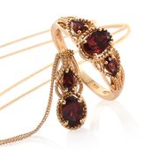 Mozambique Garnet 14K YG Over Sterling Silver Ring (Size 7) and Pendant With Chain (20 in) TGW 2.80 cts.