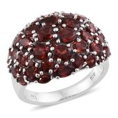 Mozambique Garnet Platinum Over Sterling Silver Cluster Ring (Size 10.0) TGW 10.11 cts.
