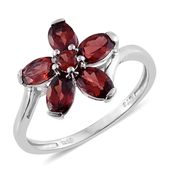 Mozambique Garnet Platinum Over Sterling Silver Flower Ring (Size 5.0) TGW 3.03 cts.