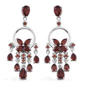 Mozambique Garnet Platinum Over Sterling Silver Butterfly Chandelier Earrings TGW 5.76 cts.