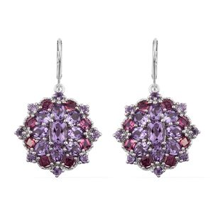 Rose De France Amethyst, Orissa Rhodolite Garnet Platinum Over Sterling Silver Earrings TGW 10.98 cts.