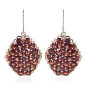 Mozambique Garnet 14K RG Over Sterling Silver Lever Back Earrings TGW 17.80 cts.