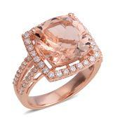 ILIANA 18K RG Marropino Morganite, Diamond Ring (Size 6.0) TDiaWt 0.69 cts, TGW 7.28 cts.