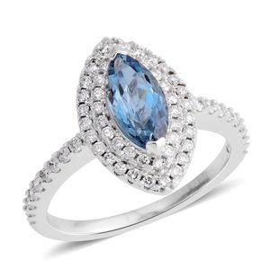 ILIANA 18K WG Premium AAA Santa Maria Aquamarine, Diamond Ring (Size 9.0) TDiaWt 0.39 cts, TGW 1.04 cts.