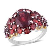 Mozambique Garnet 14K YG Over and Sterling Silver Ring (Size 5.0) TGW 9.48 cts.