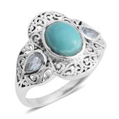 Artisan Crafted Sonoran Blue Turquoise, Blue Topaz Sterling Silver Men's Ring (Size 9.0) TGW 2.29 cts.