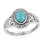 Artisan Crafted Sonoran Blue Turquoise Sterling Silver Men's Solitaire Ring (Size 14.0) TGW 1.13 cts.