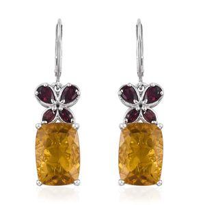 Canary Fluorite, Orissa Rhodolite Garnet Platinum Over Sterling Silver Butterfly Lever Back Earrings TGW 17.67 cts.