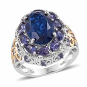 Brazilian Azul Quartz, Catalina Iolite 14K YG and Platinum Over Sterling Silver Ring (Size 7.0) TGW 8.50 cts.
