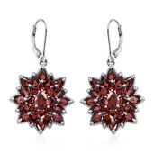 Mozambique Garnet Platinum Over Sterling Silver Lever Back Flower Earrings TGW 15.21 cts.