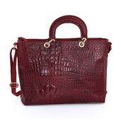Red Genuine Leather RFID Satchel Croco Bag (15.75x5.5x11 in)