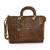Dark Brown Crocodile Embossed Genuine Leather RFID Satchel Bag (15.75x5.5x11 in)