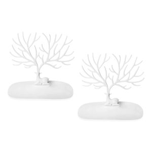 Set of 2 White My Little Deer Tray- Accessories Tree (10x5.5x8 in)