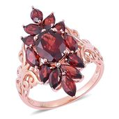 Mozambique Garnet 14K RG Over Sterling Silver Ring (Size 7.0) TGW 5.76 cts.