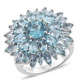 Madagascar Paraiba Apatite Platinum Over Sterling Silver Cluster Ring (Size 8.0) TGW 8.95 cts.