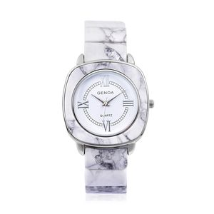 GENOA Miyota Japanese Movement Water Resistant Watch with Square White Howlite Strap & Stainless Steel Back TGW 217.00 cts.
