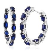 Blue Spinel, Cambodian Zircon Platinum Over Sterling Silver Earrings TGW 5.15 cts.