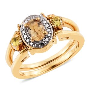 Brazilian Citrine, Amethyst, Simulated Yellow and Purple Diamond ION Plated 18K YG Brass Reversible Ring (Size 5.0) TGW 2.30 cts.
