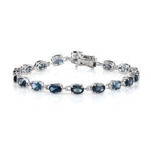 London Blue Topaz Platinum Over Sterling Silver Bracelet (7.50 In) TGW 14.80 cts.
