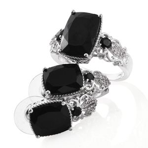 Australian Black Tourmaline, Thai Black Spinel, Cambodian Zircon Platinum Over Sterling Silver Earrings and Ring (Size 7) TGW 16.60 cts.