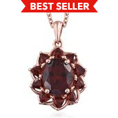 Mozambique Garnet 14K RG and Platinum Over Sterling Silver Pendant With Chain (20 in) TGW 4.65 cts.