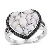 Australian White Opal, Thai Black Spinel Platinum Over Sterling Silver Heart Ring (Size 8.0) TGW 2.18 cts.