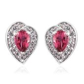 Rose Danburite, Cambodian Zircon Platinum Over Sterling Silver Stud Earrings TGW 1.20 cts.