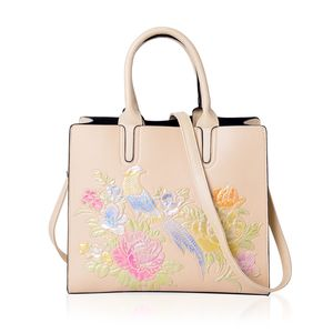 Cream, Multi Color Flower and Bird Embossed Faux Leather Structured Tote with Removable Shoulder Strap (12.5x5x10.5 in)