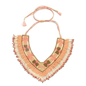 Handmade Multi Color Seed Bead and Fabric V-Neck Bib Necklace with Fringes (Adjustable)